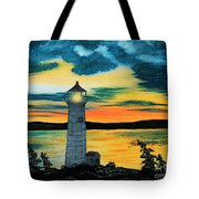 Evening Light - Lighthouse Tote Bag