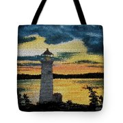 Evening Lighthouse In Stained Glass Tote Bag