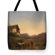 Evening Mood In Front Of A Wide Landscape With Horses Tote Bag