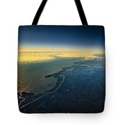 Evening Ocean Shore From The Airplane Window Tote Bag