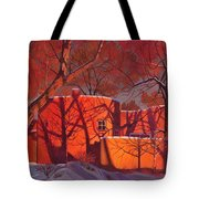 Evening Shadows On A Round Taos House Tote Bag