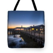 Evening Sky At The Dock Tote Bag by Debra and Dave Vanderlaan