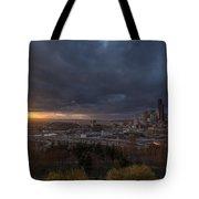 Evening Sunlit Seattle Skyline Tote Bag