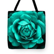 Evening Teal Rose Flower Tote Bag