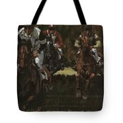 Eventing Horses Over Jump Tote Bag