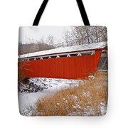 Everett Rd. Covered Bridge In Winter Tote Bag