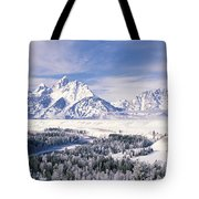Evergreen Trees On A Snow Covered Tote Bag