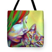 Evi And The Cat Tote Bag