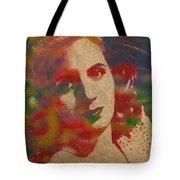 Evita Eva Peron Watercolor Portrait On Worn Distressed Canvas Tote Bag by Design Turnpike