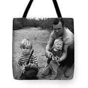 Ex Green Beret Barry Sadler In Target Practice With Son's Thor And Baron Tucson Arizona 1971 Tote Bag