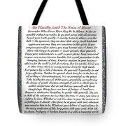 Executive Style Desiderata Tote Bag