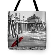 Existential Surfing At Huntington Beach Selective Color Tote Bag