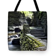 Exiting Watkins Glen Gorge Tote Bag by Frozen in Time Fine Art Photography
