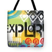 Explore- Contemporary Abstract Art Tote Bag by Linda Woods