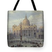Exterior Of St Peters In Rome From The Piazza Tote Bag