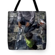 Eyes Down From The 103rd Floor Little Dude With No Fear Tote Bag