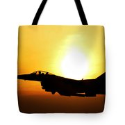 F-16 Fighting Falcon Flying Over Korea Tote Bag