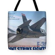 Lockheed Martin F-35 Joint Strike Fighter Lightening II With Text Tote Bag