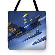 Fa-18 Hornets Of The Blue Angels Fly Tote Bag
