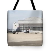 Fa-18 Hornets On The Flight Line Tote Bag