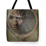 Face In Broken Mirror Tote Bag