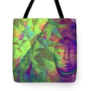 Face In The Rock With Maple Leaves Tote Bag