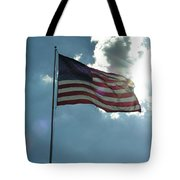 Face Of Jesus In Cloud W Flag 9 11 Remembered  Tote Bag