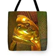 Face Of Reclining Buddha In Wat Po In Bangkok-thailand Tote Bag