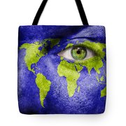 Face The World Map Tote Bag