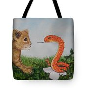Face To Face Were A Lion And Snake Tote Bag
