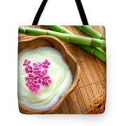 Facial Cream In Wood Bowl Tote Bag