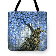 Fairy Under Blue Blossom Tote Bag