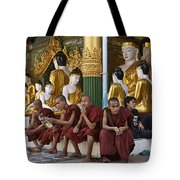 faithful Buddhist monks siiting around Buddha Statues in SHWEDAGON PAGODA Tote Bag