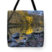 Fall Along The Scenic River Tote Bag