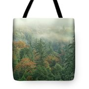 Fall Color And Fog Near Garberville California Tote Bag