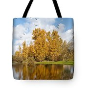 Fall Colors Clouds And Western Gulls Reflected In A Pond Tote Bag