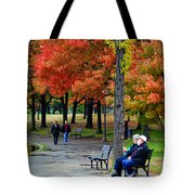 Fall Couples Tote Bag