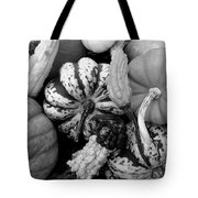 Fall Gourds Black And White Tote Bag