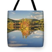 Fall Landscape On Flying Pond In Vienna Maine Tote Bag