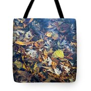 Fall Leaves In A Pond Tote Bag