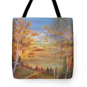 Fall Mountain Path Tote Bag