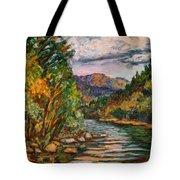 Fall New River Scene Tote Bag