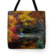 Fall Pond And Boat Tote Bag by Tom Mc Nemar