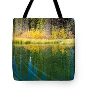 Fall Sky Mirrored On Calm Clear Taiga Wetland Pond Tote Bag