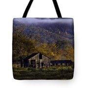 Fall Sunrise Old Barn At 21/43 Intersection Tote Bag