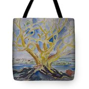 Fall Tree On The Rocks Tote Bag