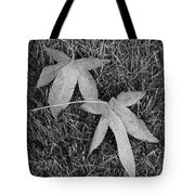 Fallen Autumn Leaves In The Grass During Morning Frost Tote Bag