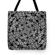 Fallen Leaves Black And White Kaleidoscope Tote Bag