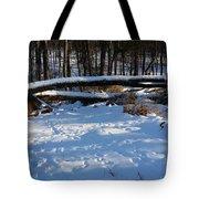 Fallen Tree Deertrails In Winter Tote Bag
