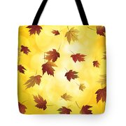 Falling Maple Leaves In Autumn Illustration Tote Bag